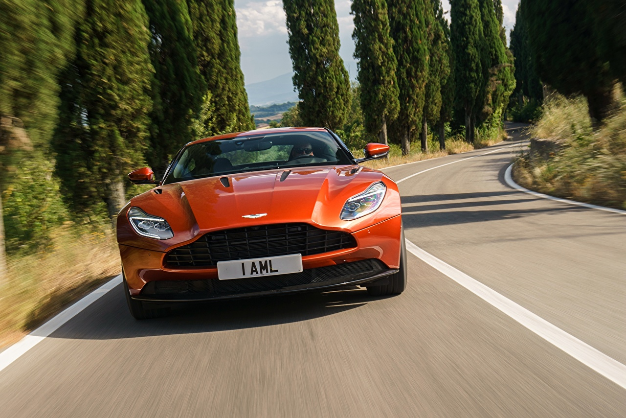 Picture Aston Martin DB11 Orange Cars Front auto automobile