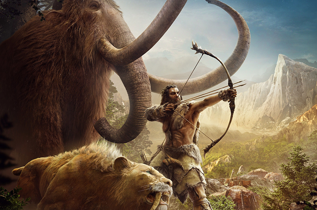 Pictures Far Cry Far Cry Primal Archers Elephants UbiSoft