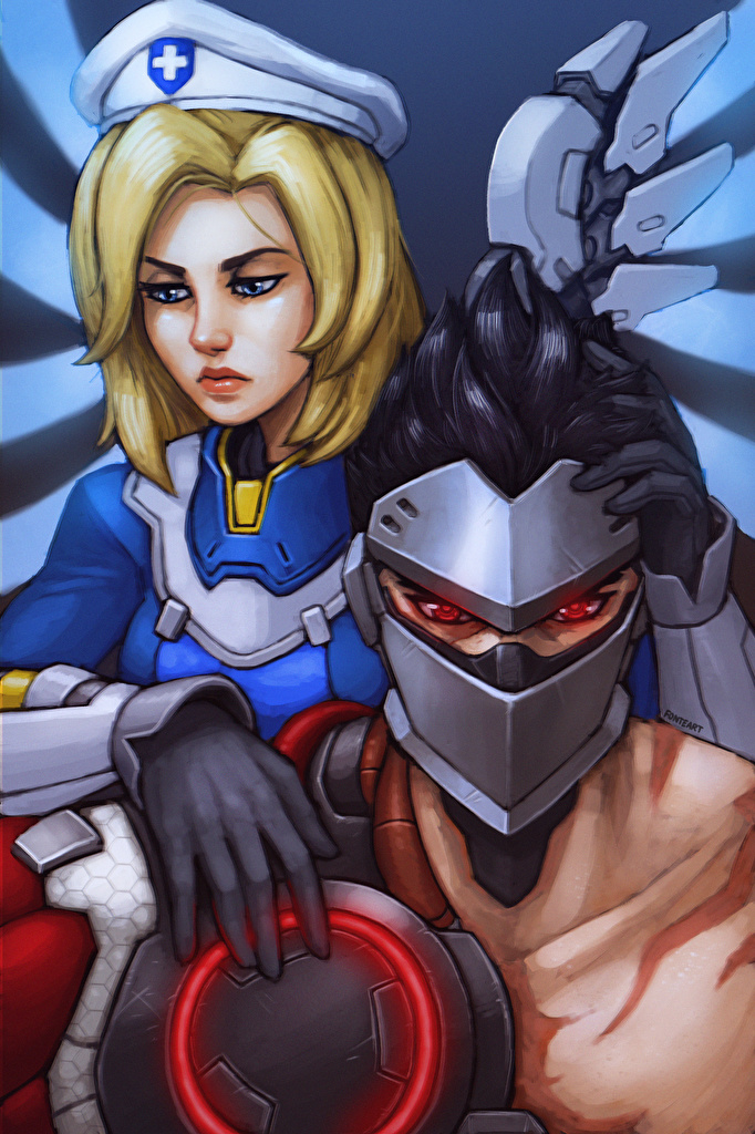 Fonds D Ecran Overwatch Masque Mercy Genji Deux Jeux