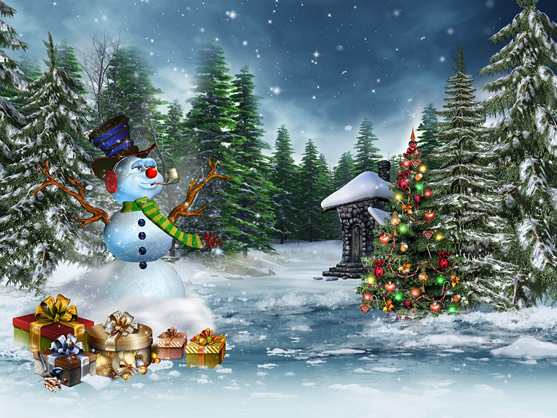 Desktop Wallpapers Christmas Spruce Winter Nature Christmas tree