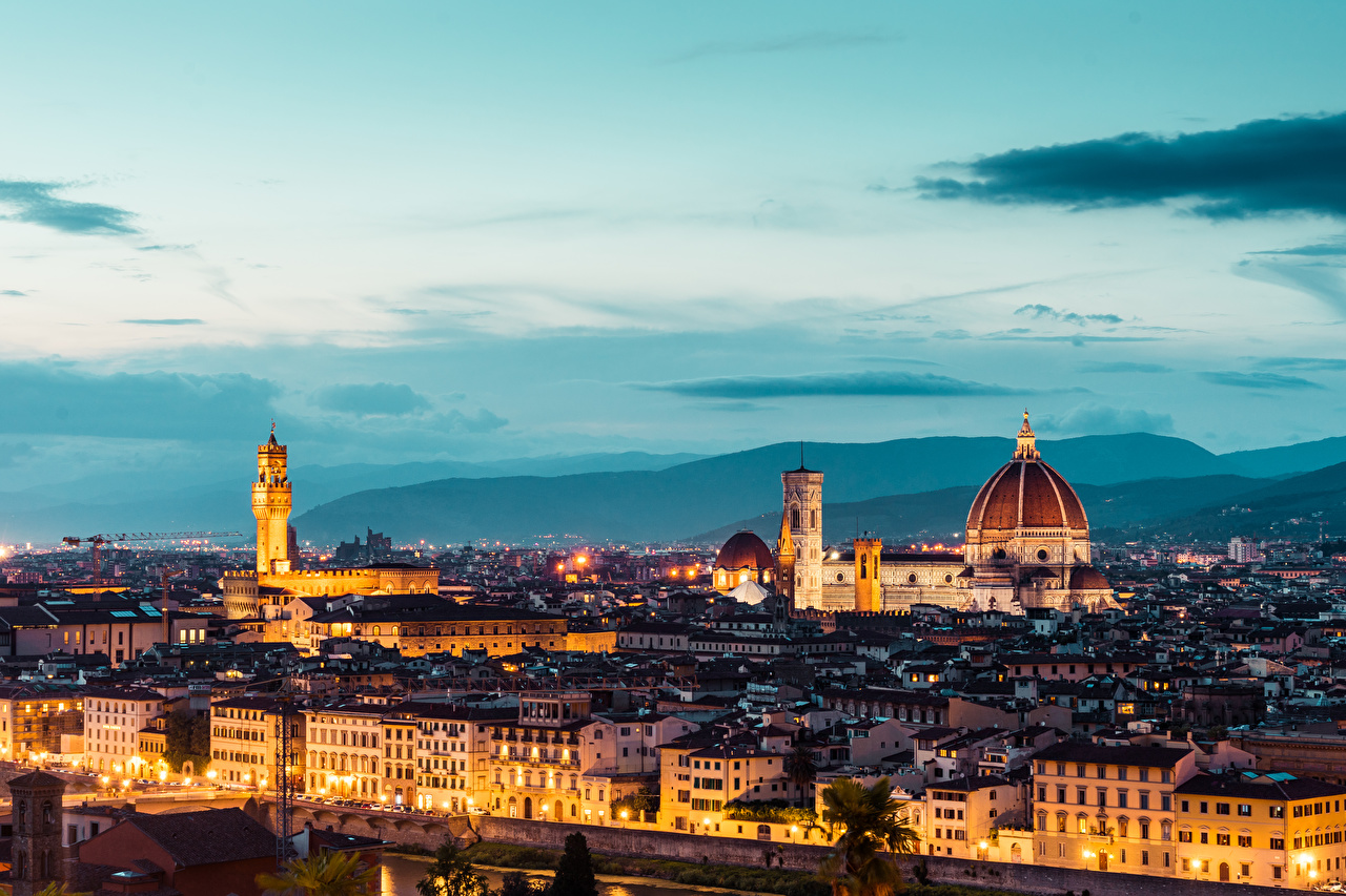 Desktop Wallpapers Florence Cathedral Italy Duomo S. Maria del Fiore Evening Cities