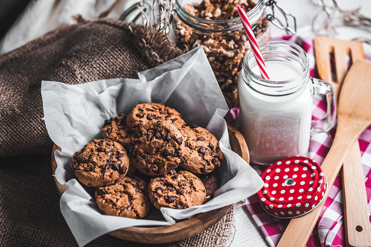 Photo Milk Chocolate Cup Food Cookies baking Pastry