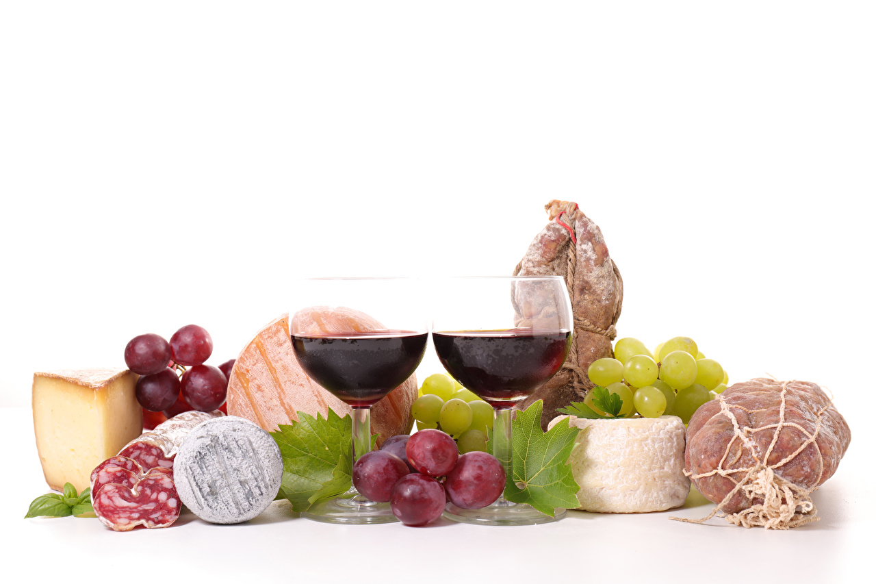 Image 2 Wine Sausage Ham Cheese Grapes Food Stemware Still-life White background Two