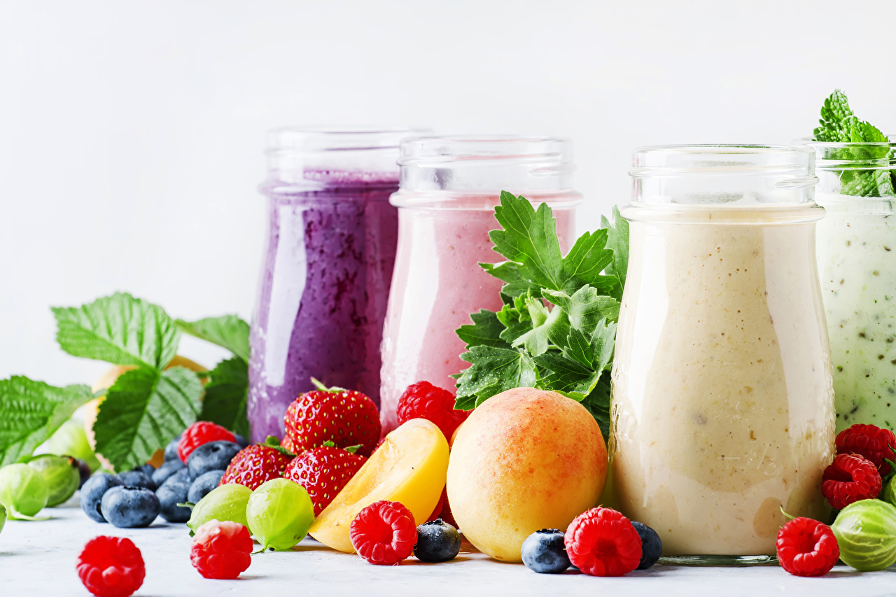 Image smoothy Apricot Jar Raspberry Strawberry Gooseberry Blueberries Highball glass Food Fruit Three 3 Smoothie