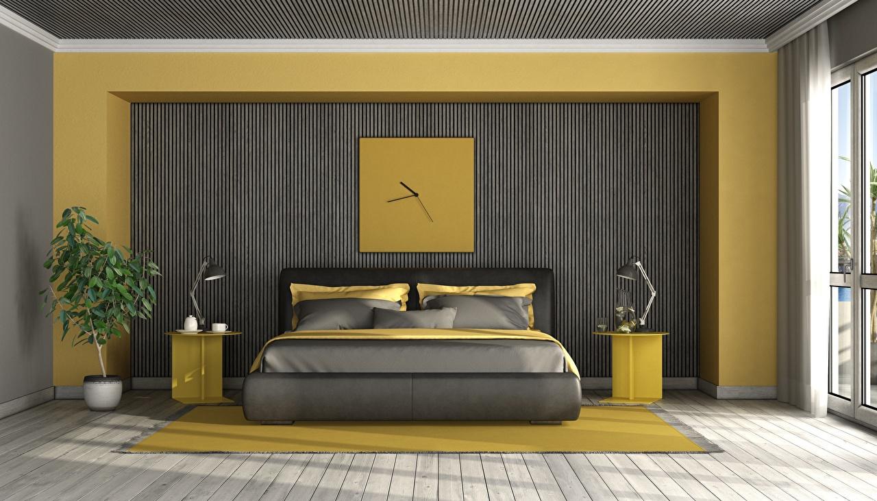 Tapety Sypialnia Zegar Grafika 3D Pokój Wnętrze Łóżko Lampa pokojowa Design dizajn Wzornictwo