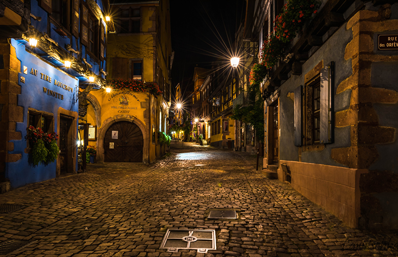 Photo France Riquewihr Street night time Street lights Houses Cities Night Building