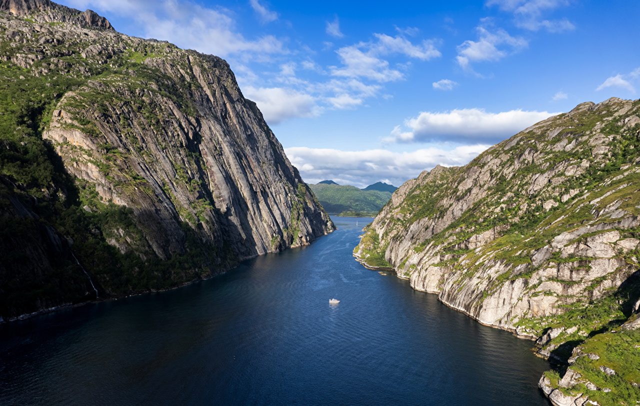 Bilder Lofoten Norwegen Trollfjord Fjord Natur Felsen Gebirge Berg