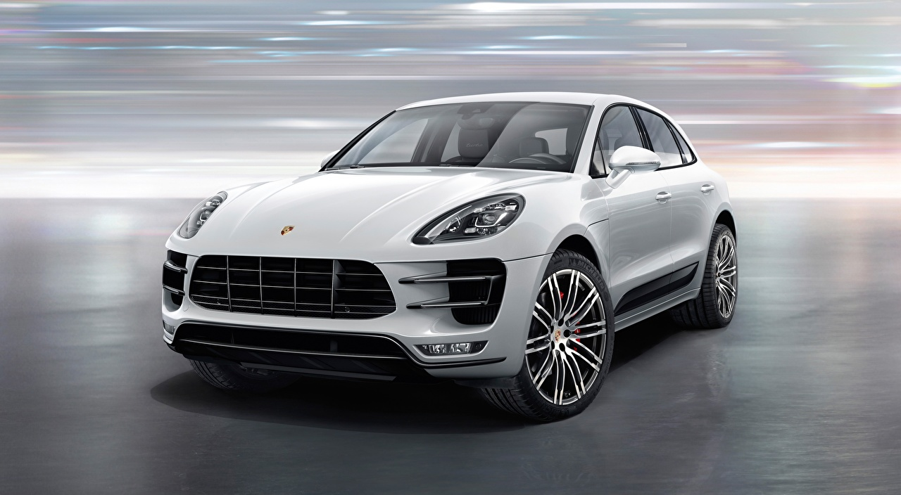 Photos Porsche Crossover Macan Turbo, with Turbo Package, 2015 White Cars Front CUV auto automobile