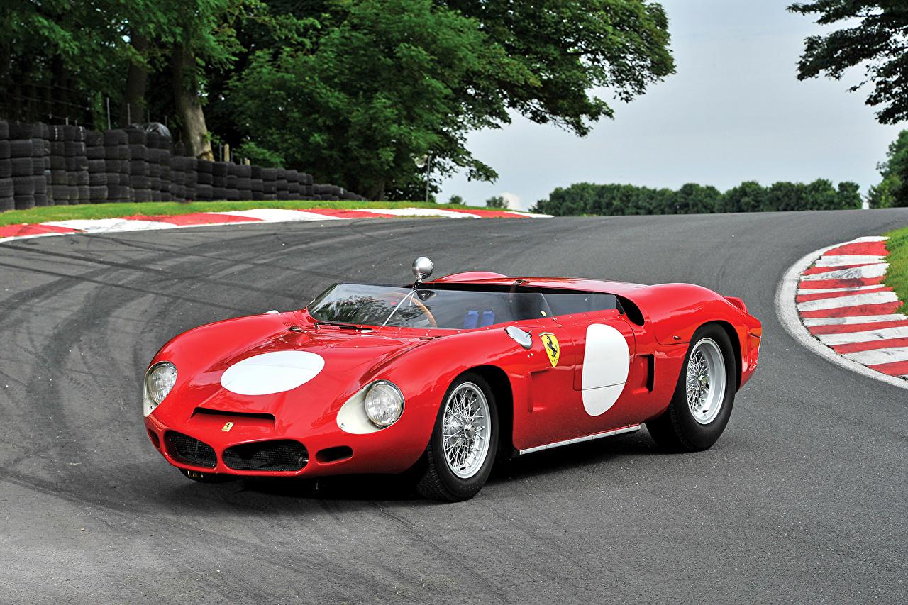 Pictures Ferrari 1962 268 SP Red Retro Cars Metallic vintage antique auto automobile