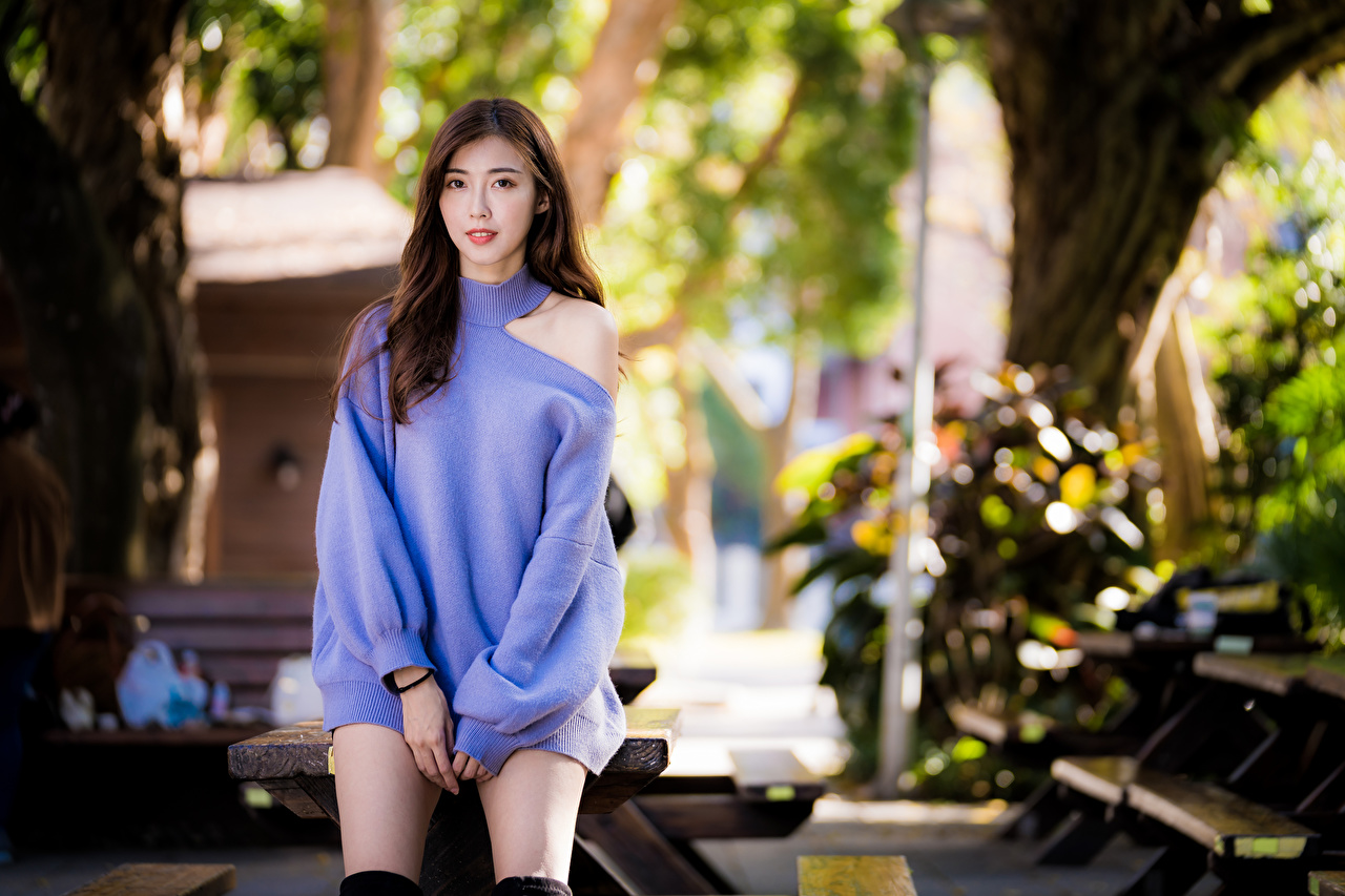 Images Brown haired Bokeh Girls Sweater Asiatic Staring frock blurred background female young woman Asian Glance gown Dress