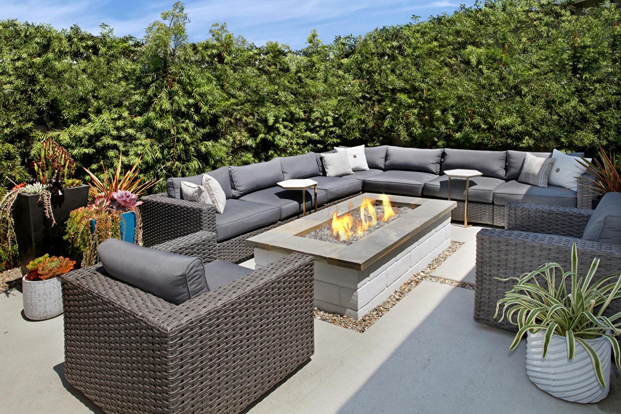 Foto Flamme Innenarchitektur Couch Sessel Feuer Sofa