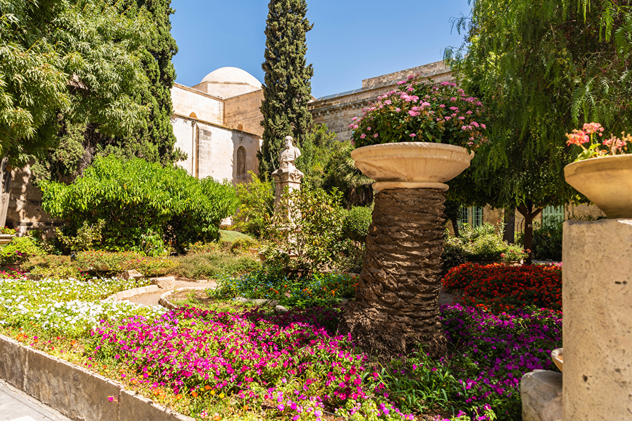 Picture Israel Monuments Church of Saint Anne in Old Jerusalem Nature Gardens temple Shrubs Design Temples Bush
