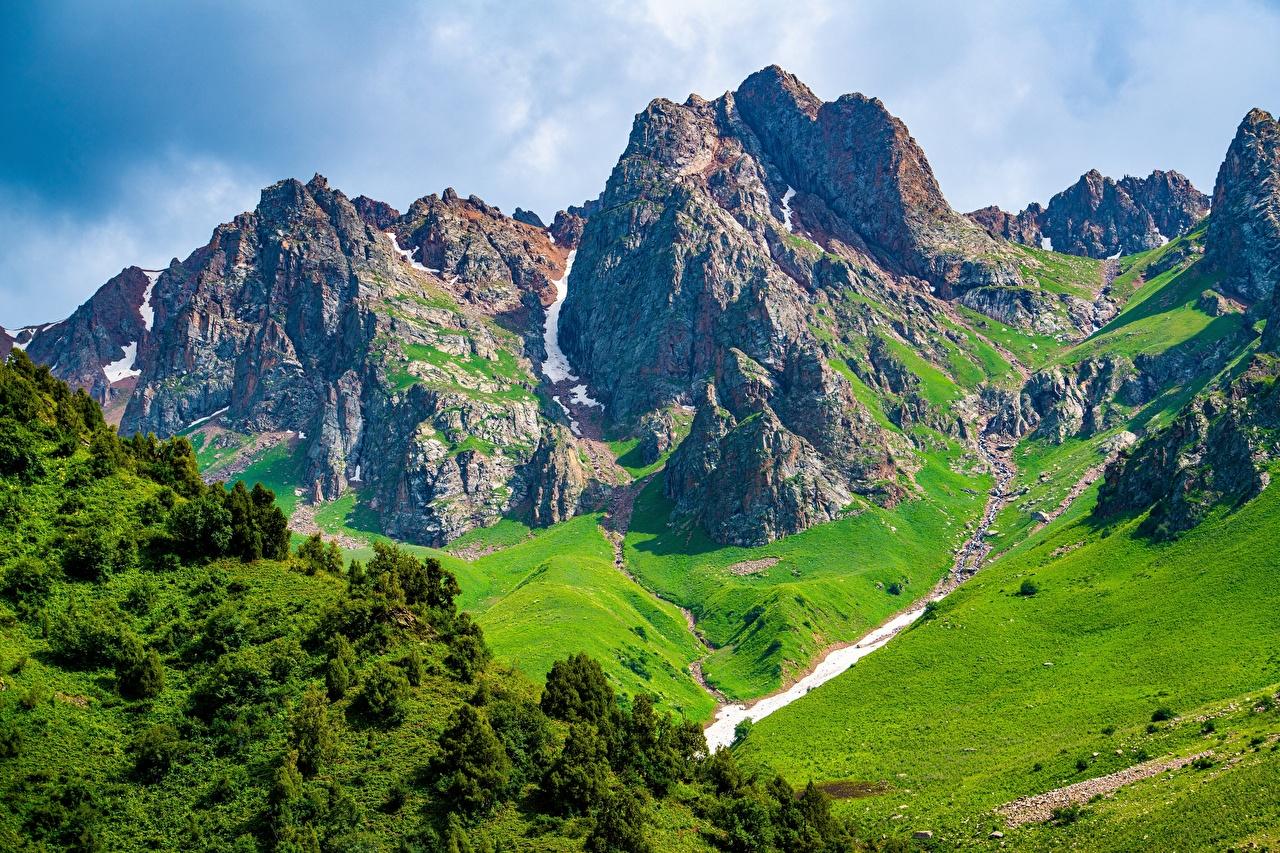 Bakgrunnsbilder til skrivebordet Talas, Kyrgyzstan Fjell Natur Klippe Landskap landskapsfotografering