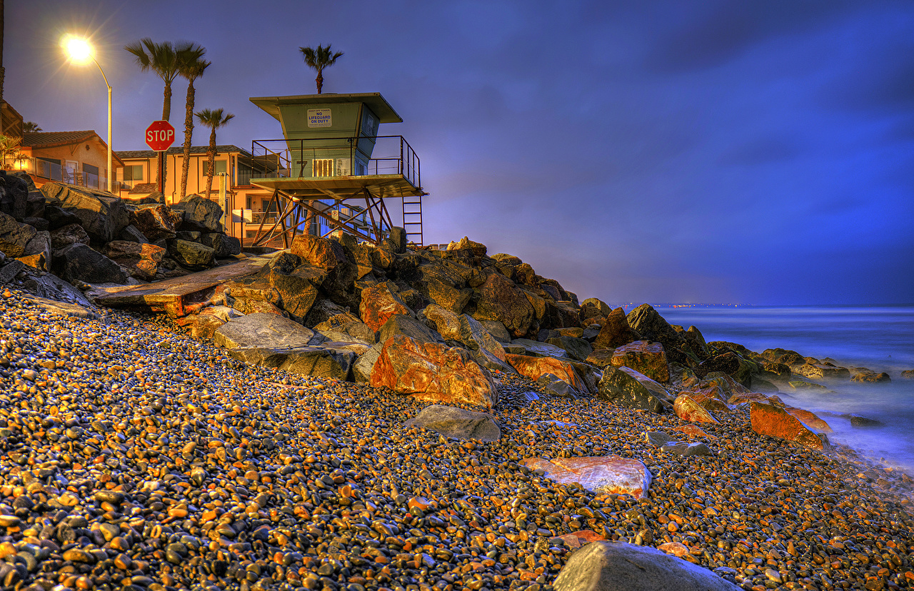 Pictures California USA Oceanside HDRI Nature palm trees stone Coast Evening Street lights HDR Palms Stones