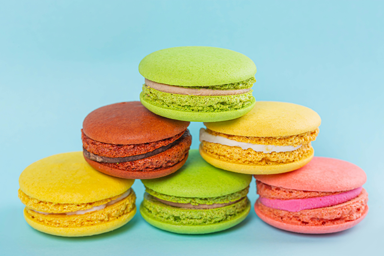 Images french macarons Multicolor Food Closeup Colored background Macaron