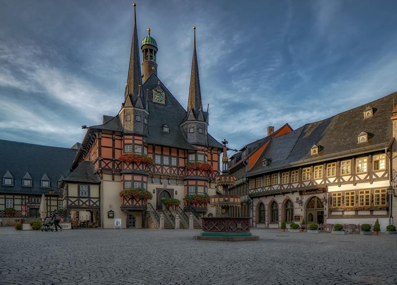 Image Germany Wernigerode Sachsen-Anhalt Street Cities Building Houses