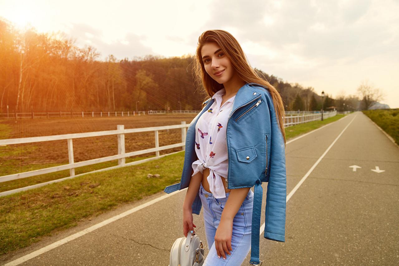 Images Viacheslav Krivonos Model Smile Lena Jacket young woman Jeans Glance Modelling Girls female Staring