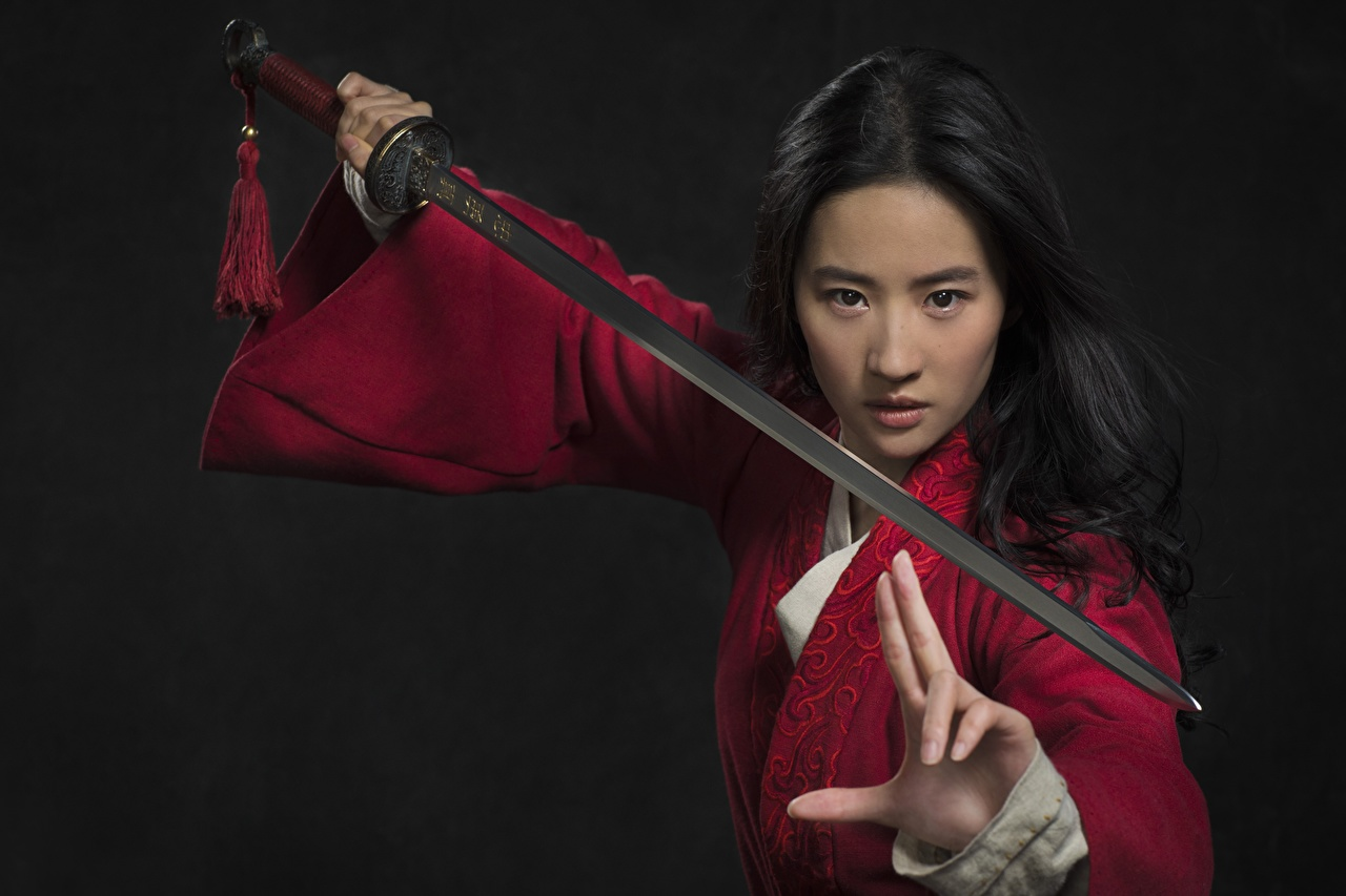 Image Swords Brunette girl Warriors gestures Liu Yifei posing Girls Asiatic Staring warrior Gesture Pose female young woman Asian Glance