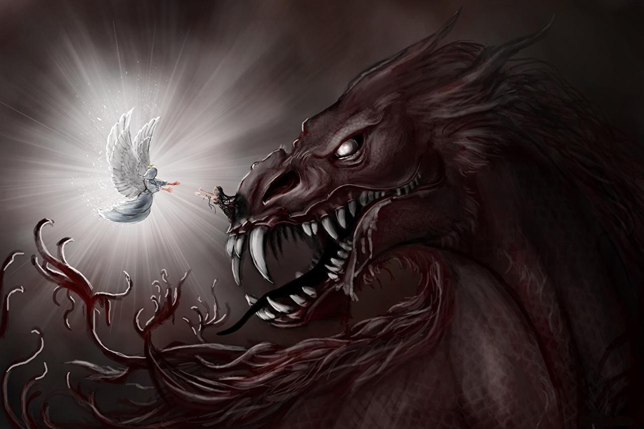 Fondos De Pantalla Angel Demonios Diente Canino Fantasia Descargar