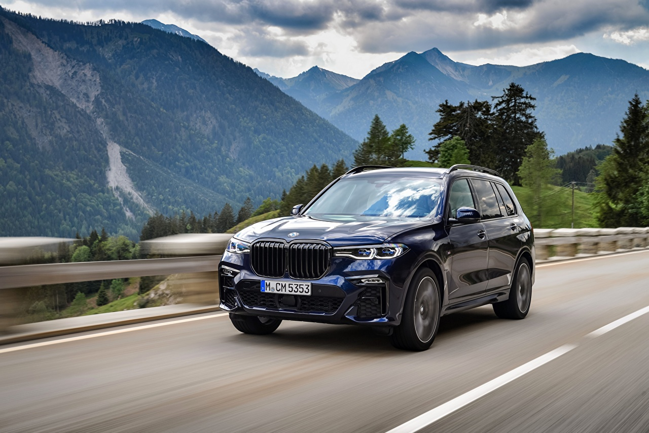 Images BMW Crossover X7, G07 Mountains Roads at speed Cars Metallic CUV mountain Motion riding moving driving auto automobile