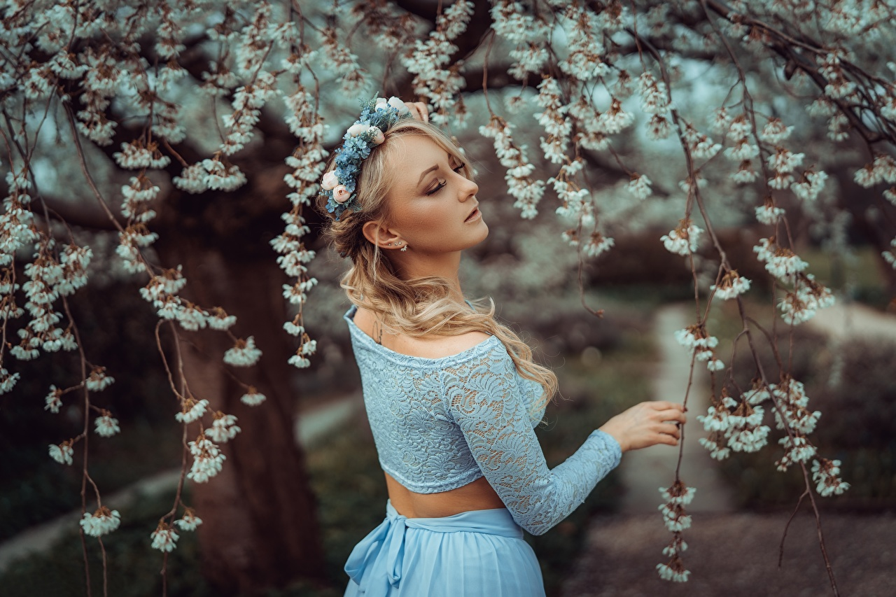 Image Blonde girl Bokeh Spring Wreath female Branches blurred background Girls young woman
