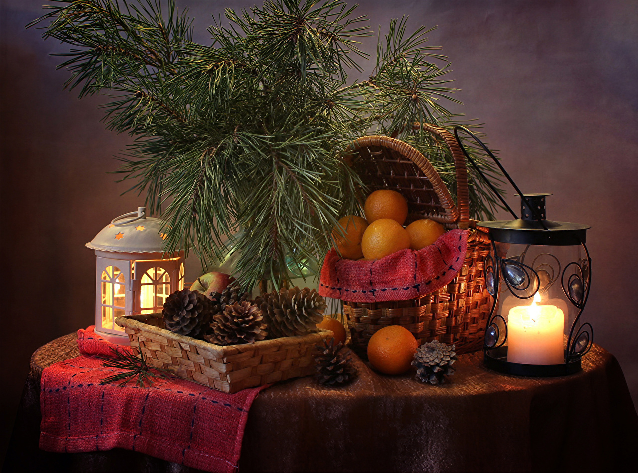 Images Christmas Lantern Mandarine Wicker basket Food Candles Branches Pine cone Still-life New year Conifer cone