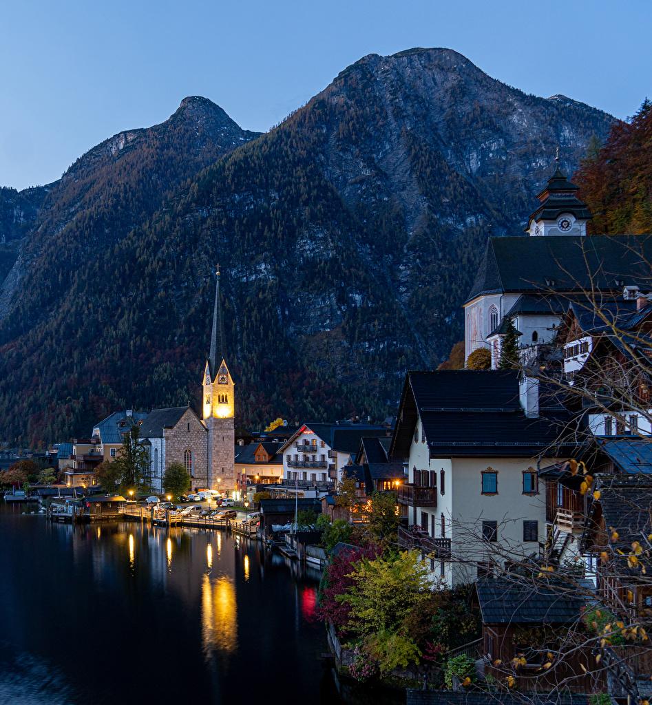 Photo Hallstatt Austria Mountains Coast Berth Evening Houses Cities mountain Pier Marinas Building