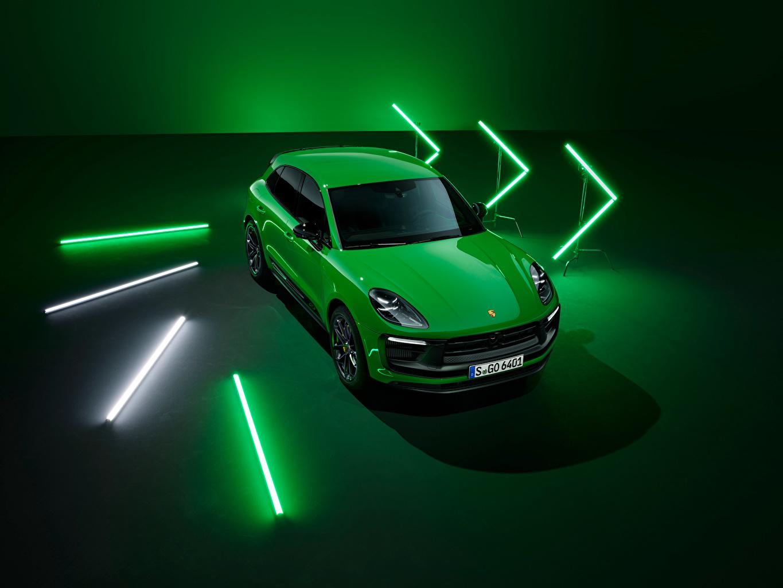 Desktop Hintergrundbilder Porsche Macan GTS Sport Package, (Worldwide), (95B), 2021 Grün auto Metallisch Autos automobil