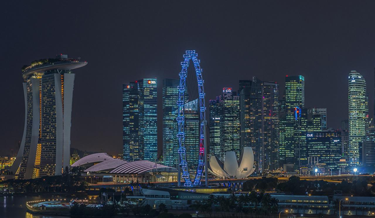 Photos Singapore night time Skyscrapers Houses Cities Night Building
