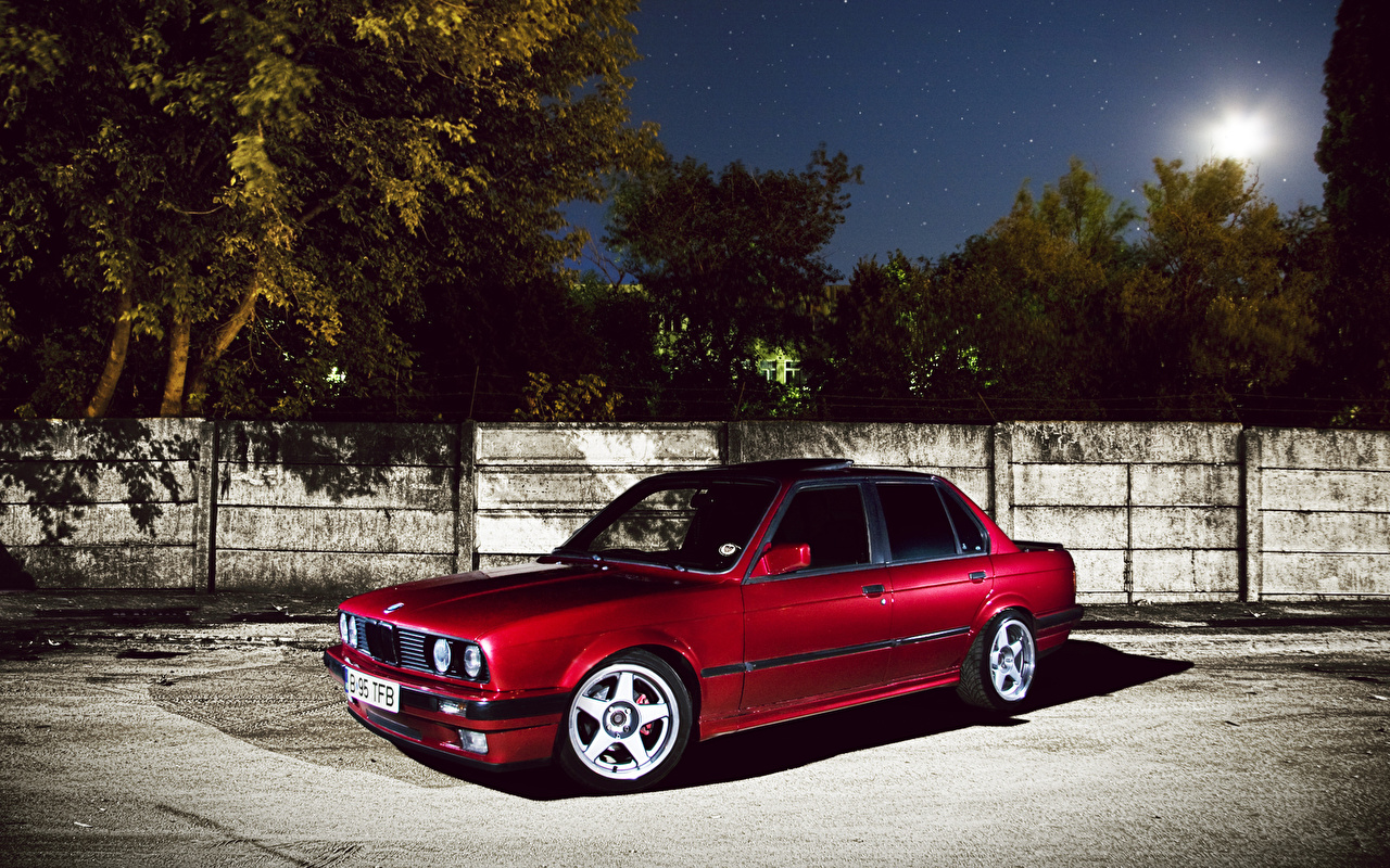 Photo BMW Red auto night time Cars Night automobile