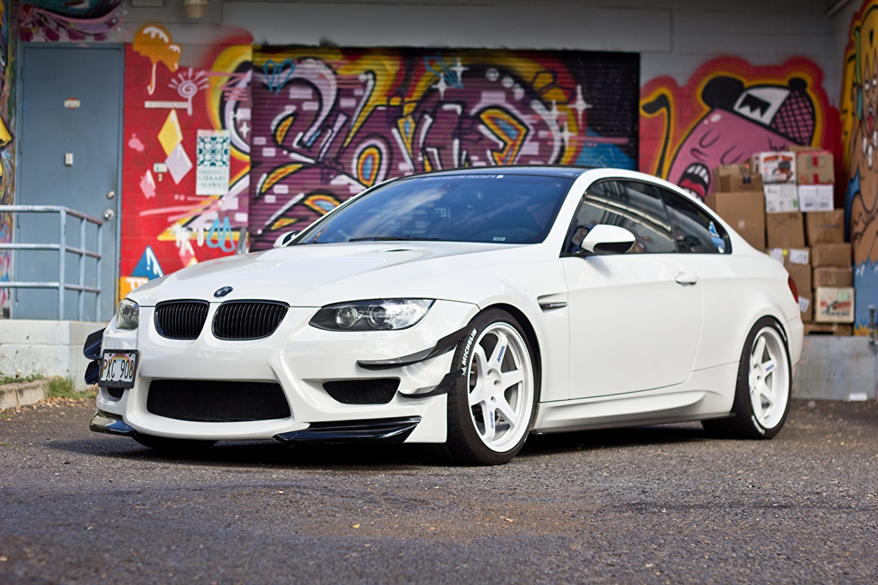 Wallpaper BMW m3 e92 White Graffiti auto Cars automobile