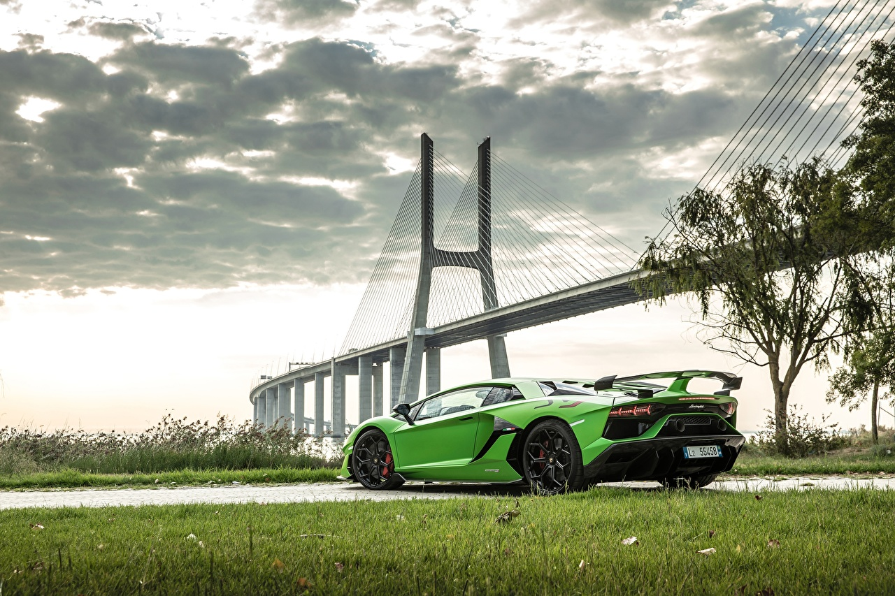 Image Lamborghini 2018, SVJ, Aventador SVJ Bridges lime color Cars Yellow green auto automobile