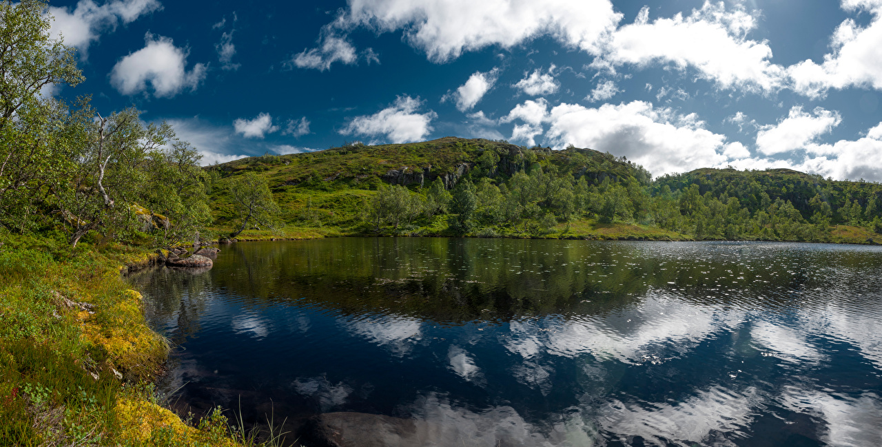 Picture Norway Holmevatn Nature Lake Reflection Clouds reflected
