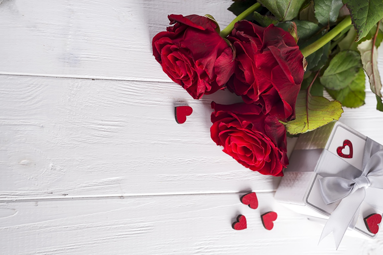 Wallpaper Valentine's Day Heart Red rose Flowers Template greeting card Wood planks Roses flower boards