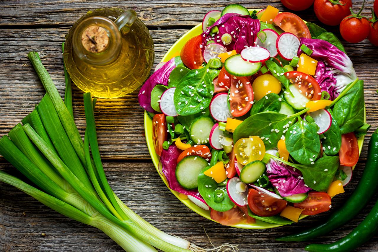Picture Food Bottle Salads Vegetables Boards Wood planks