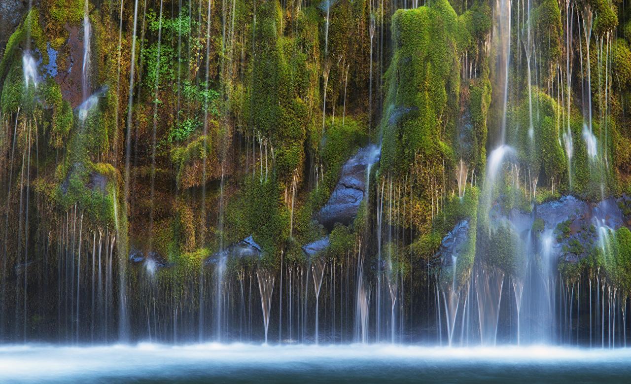 Bilder von Kalifornien USA Mossbrae falls Natur Felsen Wasserfall Laubmoose Vereinigte Staaten