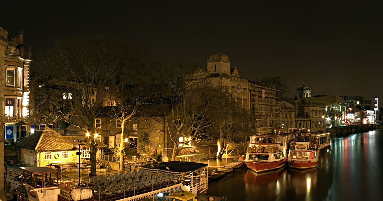 Images England York Night Rivers Marinas Riverboat Houses Cities Pier river Berth night time Building