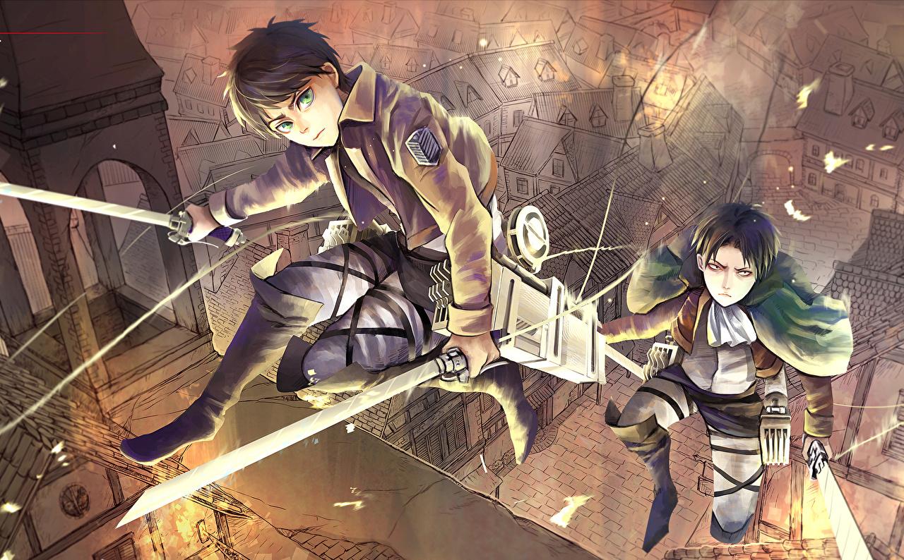 Wallpaper Attack On Titan Swords Warrior Guy Eren Jaeger Rivaille