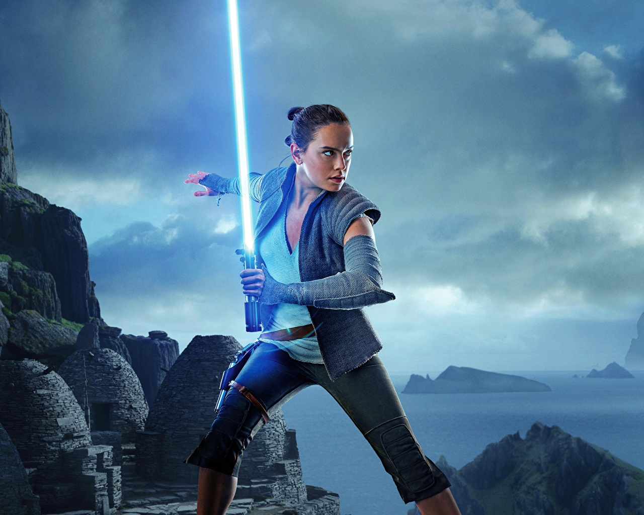 Picture young woman Star Wars: The Last Jedi Daisy Ridley Lightsaber film Swords Girls female Movies