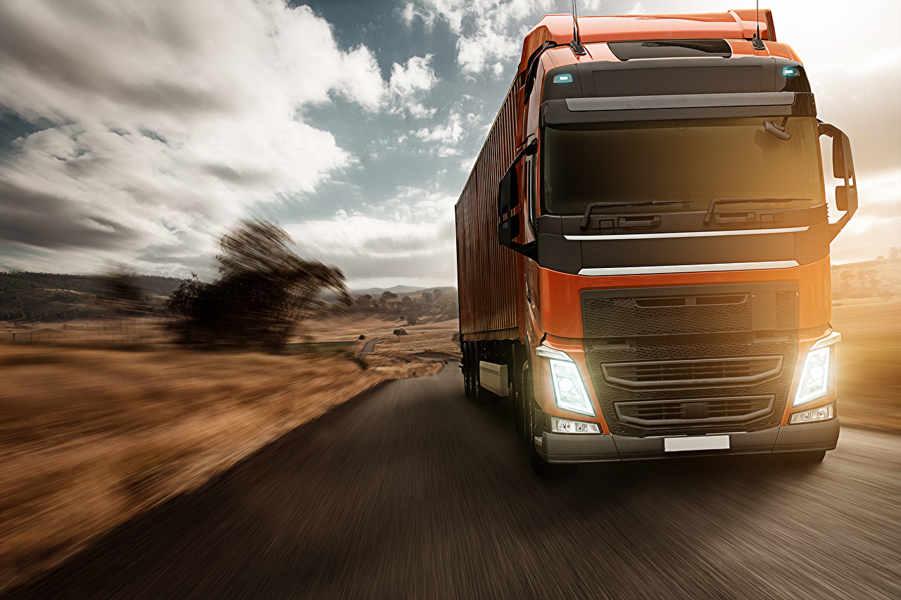 Image Trucks Motion Cars Front lorry moving riding driving at speed auto automobile