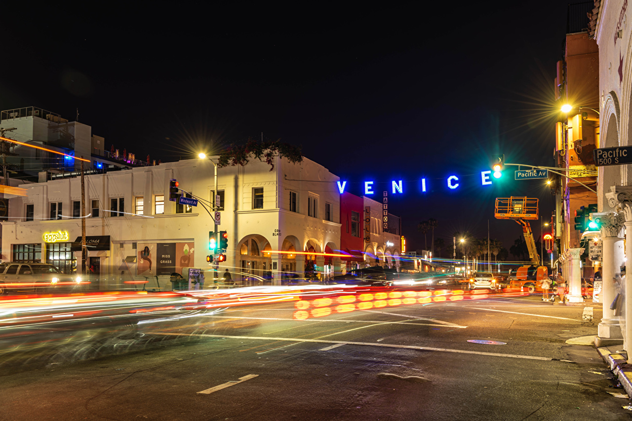 Image California USA Venice Beach Roads Street night time Street lights Cities Building Night Houses