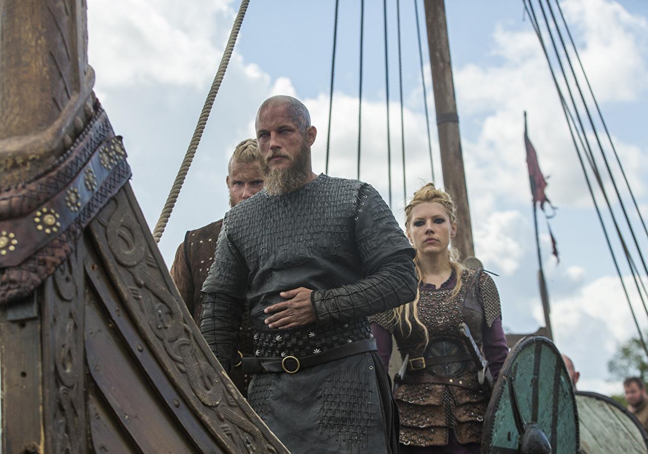 Fonds d'ecran Vikings (série télévisée) Homme Katheryn Winnick Lagertha, Alexander Ludwig ...