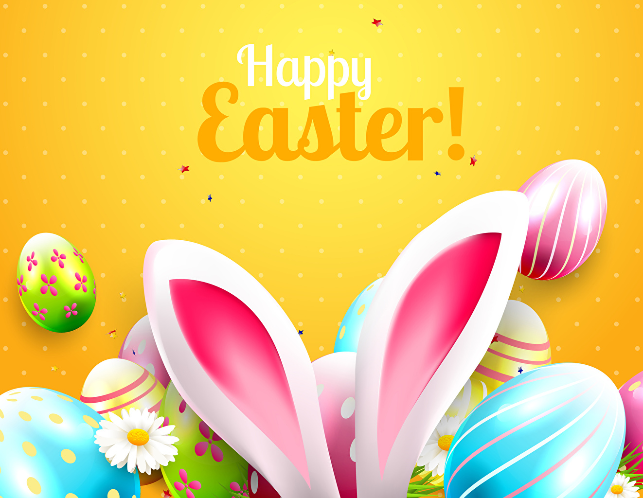 Pictures Easter English Rabbit ears Eggs lettering Colored background egg text Word - Lettering