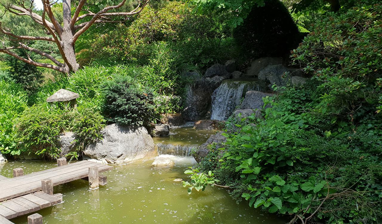 Fotos Bayern München Deutschland Sendling-Westpark Natur Wasserfall Park Strauch