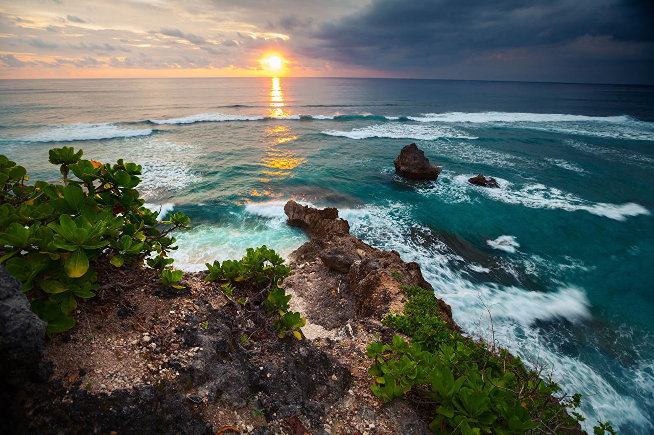 Images Indonesia Nature Waves sunrise and sunset Coast Horizon Sunrises and sunsets