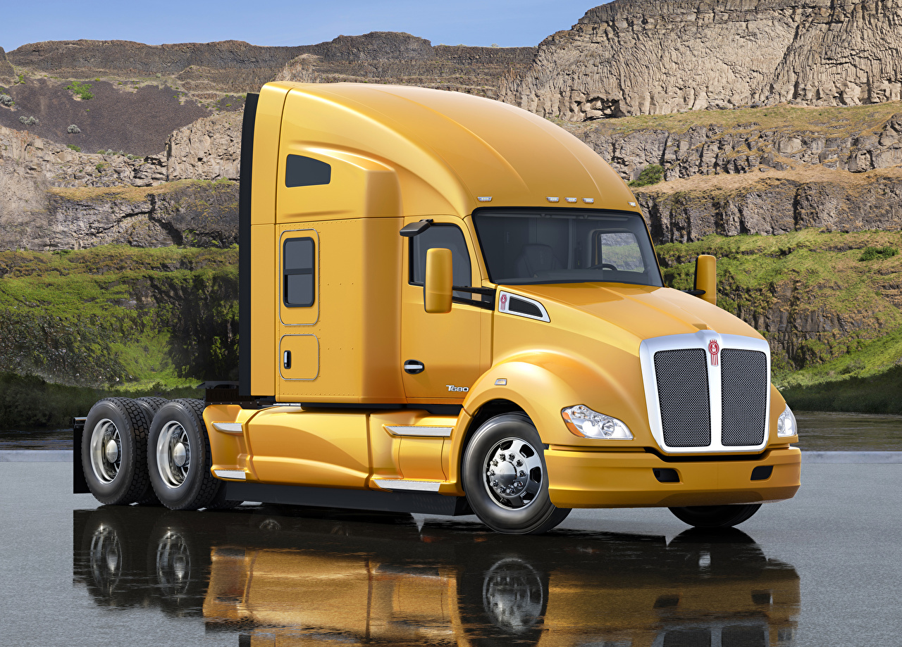 Images lorry Kenworth 2012-16 T680 Yellow auto Trucks Cars automobile