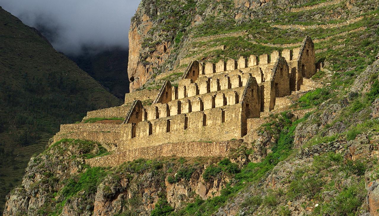 Bilder Peru Ollantaytambo Fjell Natur Ruiner ruin