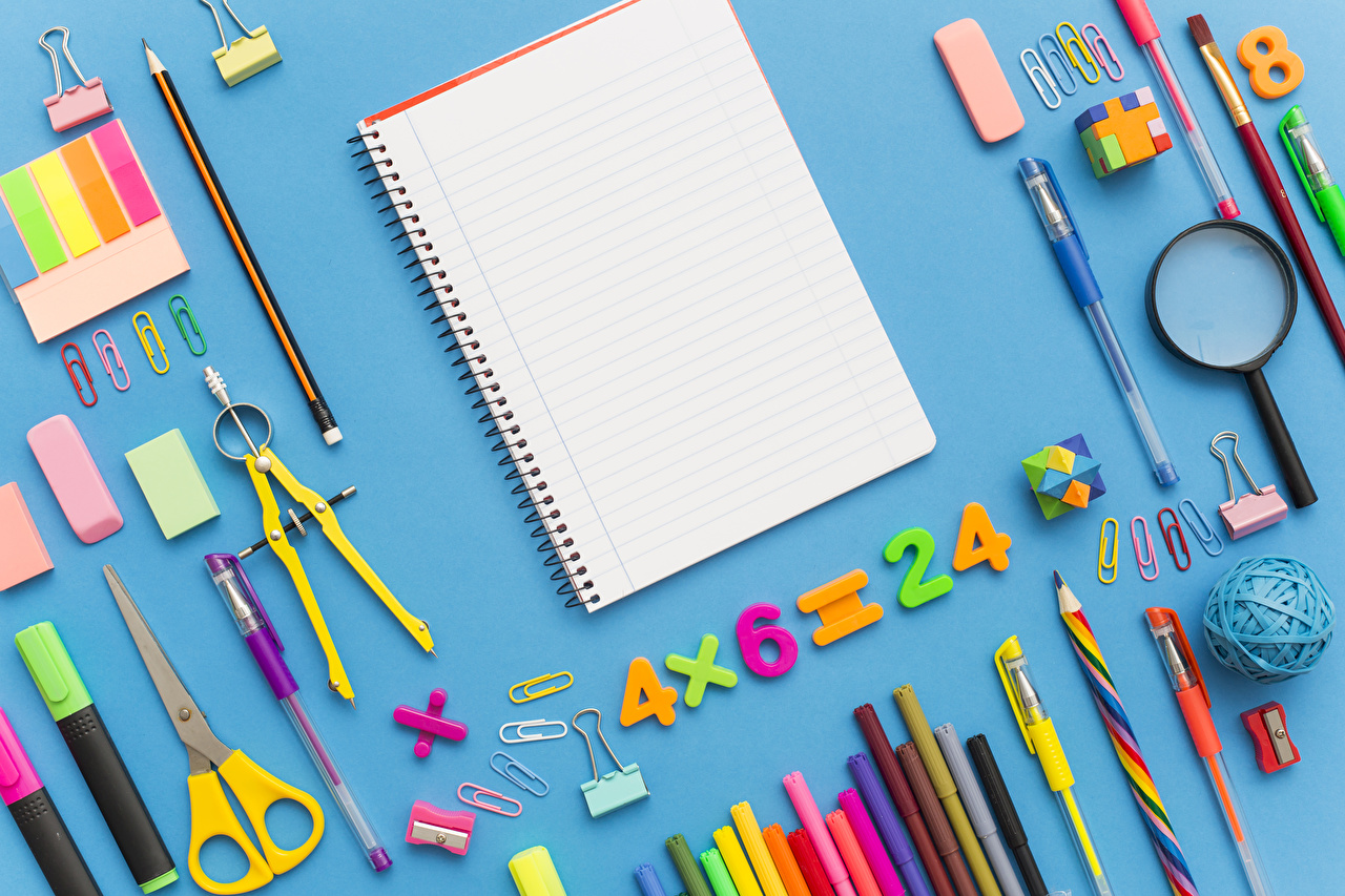 Images Stationery School Pencils Magnifier Ballpoint pen Notebooks Colored background Magnifying glass