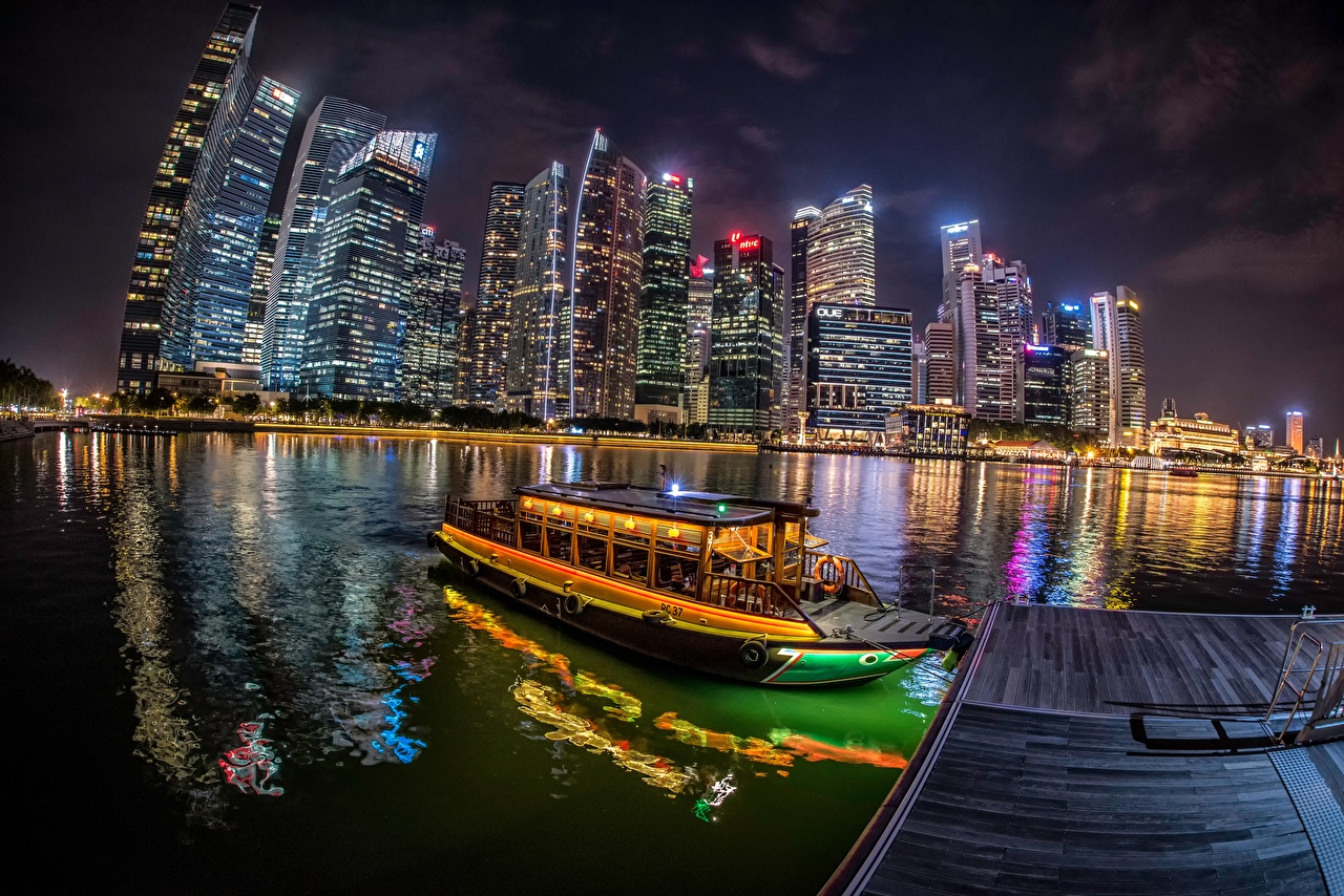 Picture Singapore Riverboat Pier river night time Skyscrapers Cities Building Berth Night Rivers Marinas Houses
