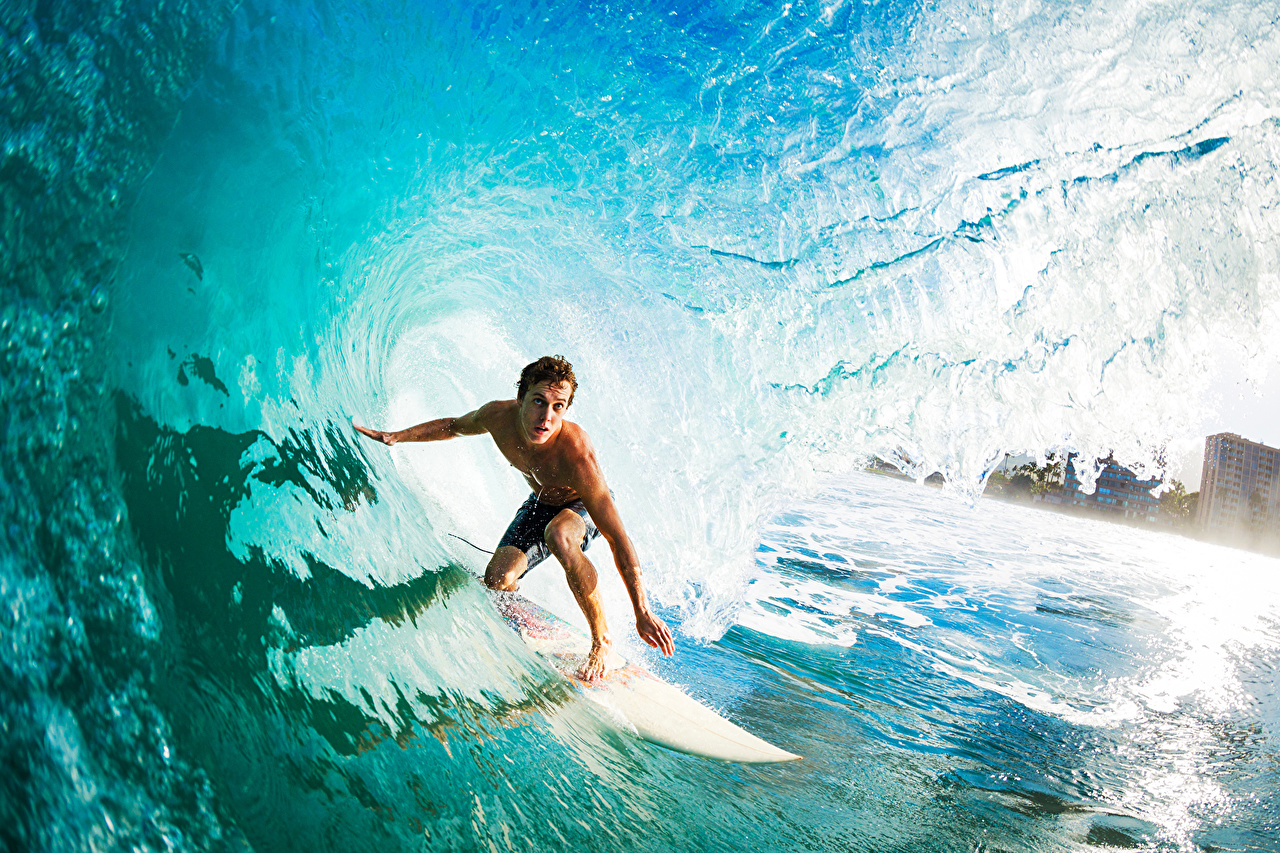 Image Men Surfing Athletic Waves Water